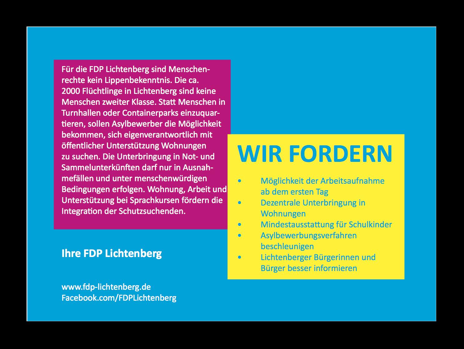 FDP Postkarte Flüchtlinge Rückseite