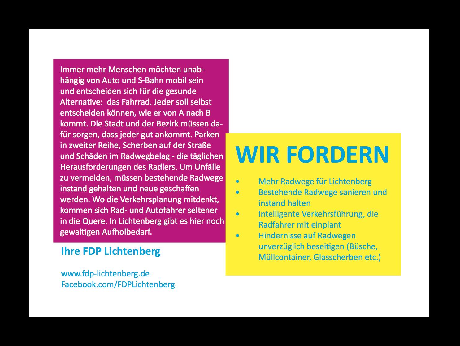 FDP Postkarte Radwege hinten