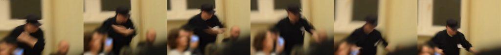 Collage von Bildern aus dem Tagesspiegel-Video, die zeigt, wie exakt der Moment des Schlages verdeckt wird